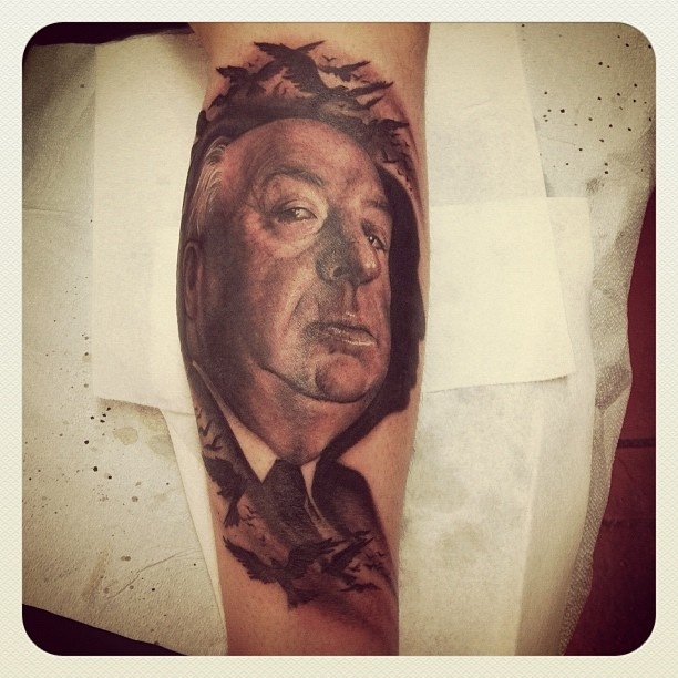 Alfred Hitchcock tattoo! This is pretty much what I want except I just ...