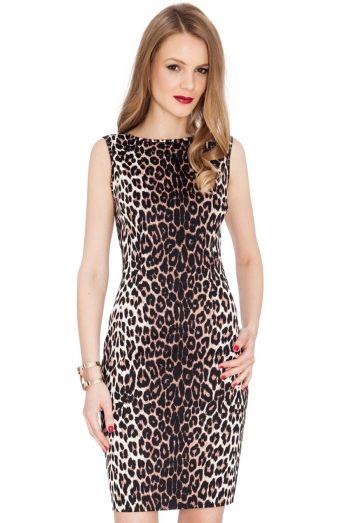 Rochie de ocazie, scurta, cu imprimeu leopard - Rochie cambrata, de ocazie, cu imprimeu leopard, fara maneci, cu decolteu rotund si fermoar ascuns la spate. Colectia Rochii de ocazie de la  www.rochii-ieftine.net