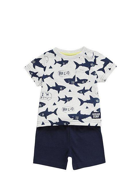 Tesco direct: F&F Shark Print T-Shirt and Sweat Shorts Set
