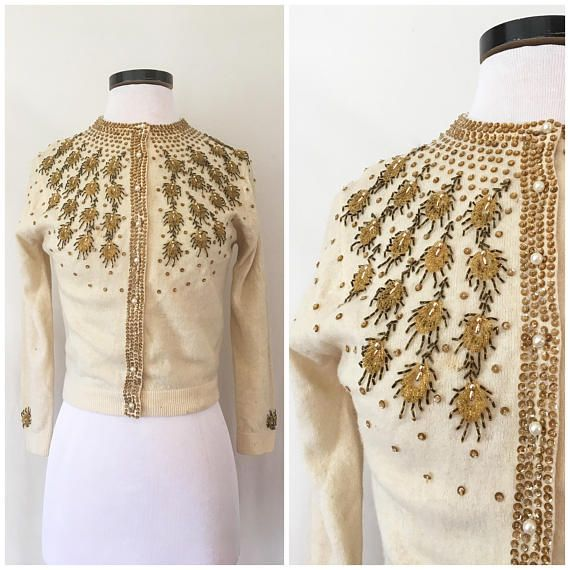 1950s Cardigan / Micro Beaded & Sequins Angora Lambs Wool Pinup Sweater / 50s Cream and Gold Cardigan / Beaded Sequin Pearl Buttons Sz: S-M