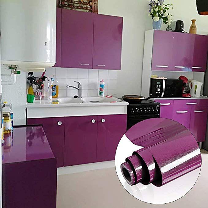 Yenhome 24 X 196 Glossy Purple Vinyl Contact Paper For Cabinets Cover Peel And Stick Armarios De Cozinha Modernos Cozinhas Modernas Geladeiras Personalizadas