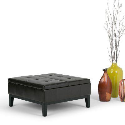 Simpli Home Dover Faux Leather Coffee Table Storage Ottoman   3AXC OTT235