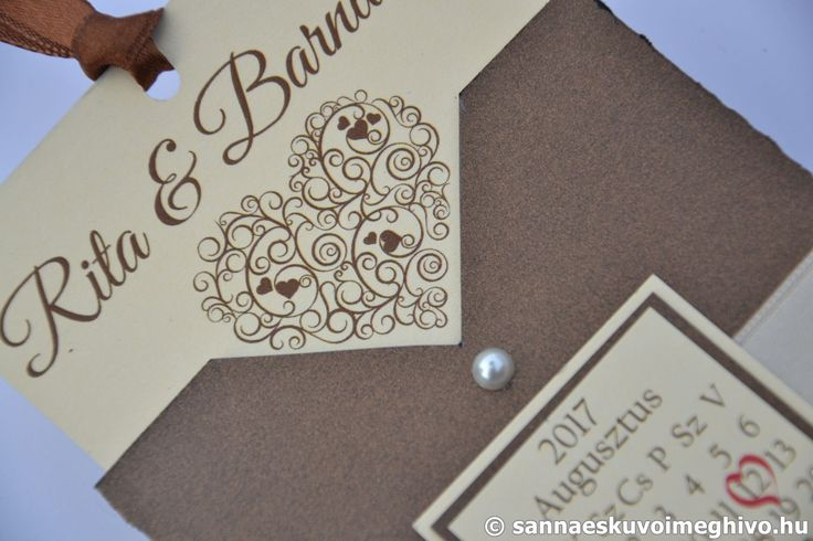 Krém csokoládé 2 esküvői meghívó, meghívó, boríték esküvői meghívó, barna esküvői meghívó, szalagos esküvői meghívó, sannaeskuvoimeghivo, egyedi esküvői meghívó, wedding card