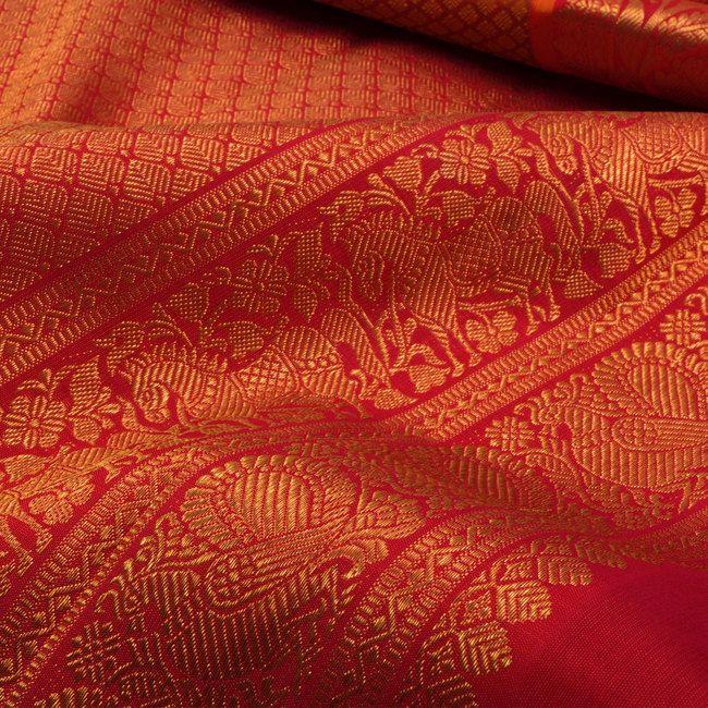 Handwoven Orange Jacquard Kanchipuram Silk Saree With Hamsa & Horse Border 10012955 - closeup - AVISHYA.COM