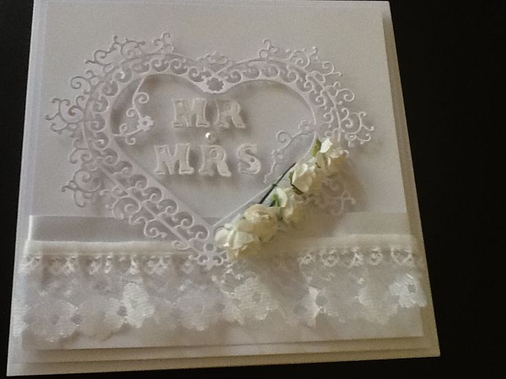 Lace Card Making Ideas Part - 37: Wedding Card Made Using Tattered Lace Dies!