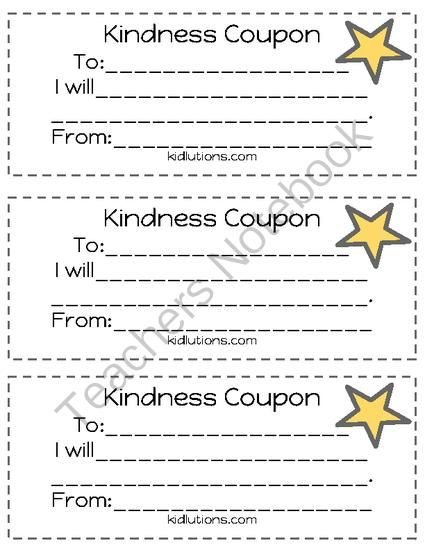 """FREEBIE: Kindness Coupons from Kidlutions: Solutions for Kids on TeachersNotebook.com (1 page)  - The world could always use more kindness.  The best way to teach kids to be kind is to model it!  We have to SHOW kids, not TELL them!  Kindness Coupons, which are just a very small part of our resource, """"No More Naughty Lists"""", are available fr"""