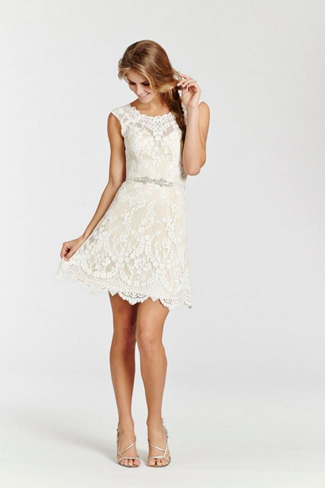 Style * AV7503 *  Bridal Gowns, Wedding Dresses  Ti Adora Spring 2015 Collection  by Alvina Valenta  Shown Ivory lace over champagne Charmeuse short dress. Sheer bateau neckline and low open back. Jeweled crystal applique on ribbon and natural waist.