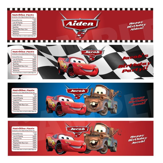 Disney CARS Water bottle labels  by ThePrintShoppeOnEtsy on Etsy, $7.00