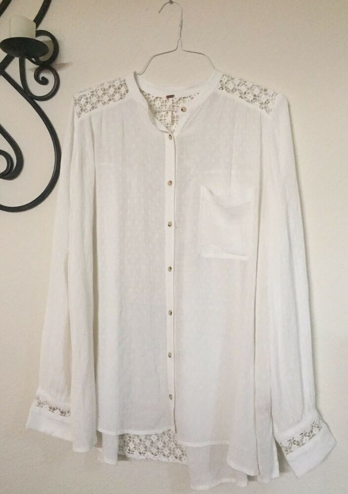 85ec1f79 $108 Free People The Best Button Down White Shirt Large Crochet Lace Inset  | eBay