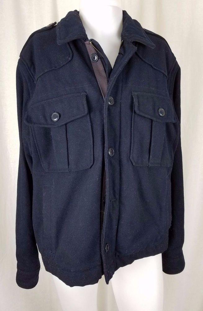 Mens Polo Jeans Ralph Lauren Type E Wool Military Field Jacket Peacoat Navy L RL #RalphLauren #FieldJacket