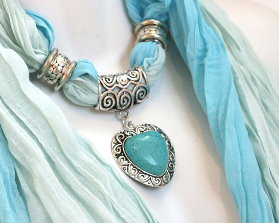 Blue Scarf With Jewelry Pendant Scarves by RavensNestScarfJewel, $24.00