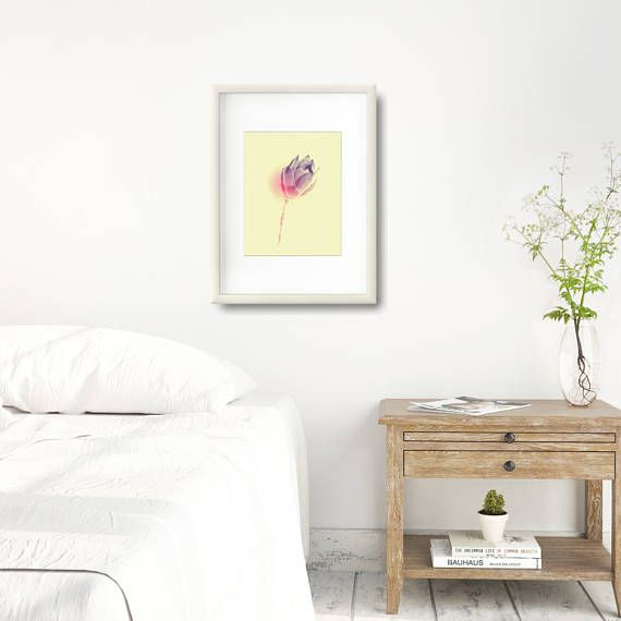 Modern succulent poster in a pastel color palette. A simple composition - succulent flower in monochromatic colors with red accent. +++ #gallerywall #gallerywallideas #gallerywalldecor #printablewallart #printablewalldecor #kacixart