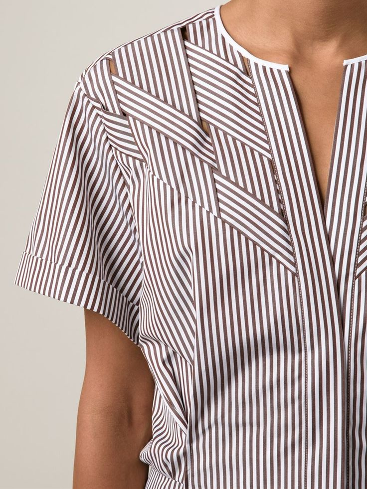 Love the details Nina Ricci Woven Striped Shirt - Capitol - Farfetch.com