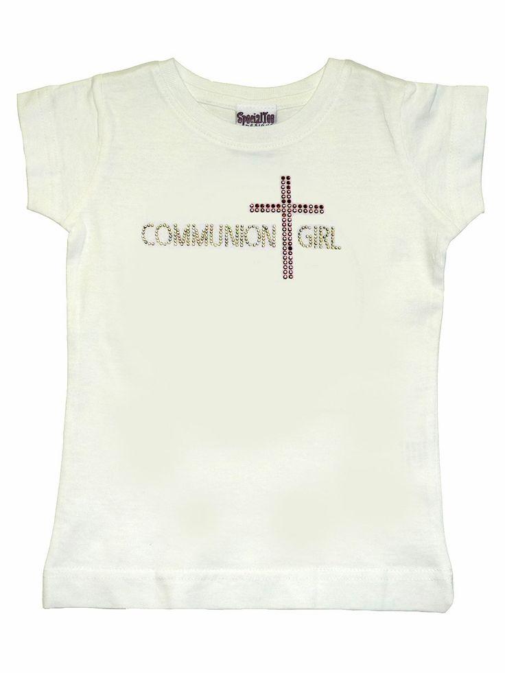 White Communion Girl Tee w/ Pink Cross