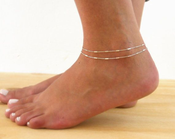 Double layered delicate silver chain anklet Perfect for layering with more anklets. Materials: Delicate sterling silver chain with tiny flat tubes.