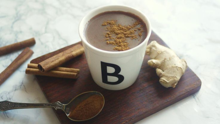 Vegan hot chocolate with spices.