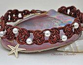 Perla e pelle nodo celtico girocollo collana - perla e la collezione di gioielli in pelle