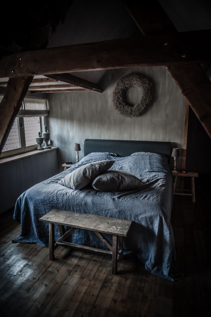 A gorgeous moody bedroom. For similar bedding try: http://www.naturalbedcompany.co.uk/shop/bedding/linen-bedding/