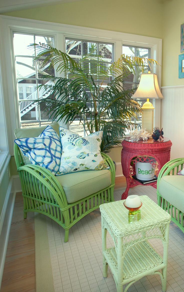 Sun porch in beach colors.