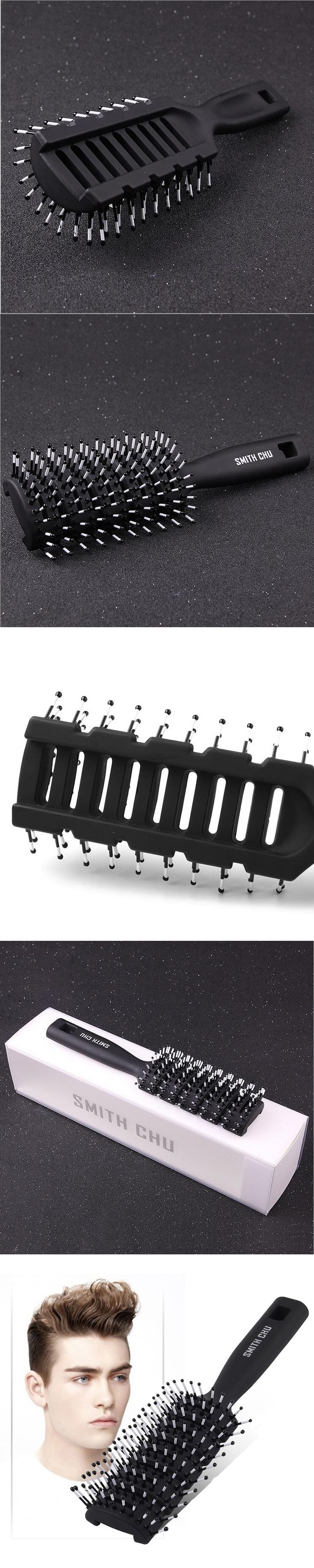 Professional Black Resin Massage Comb for Men Hair Styling Salon Plastic Paddle Hair Brush Barber Hairdressing Styling Tools