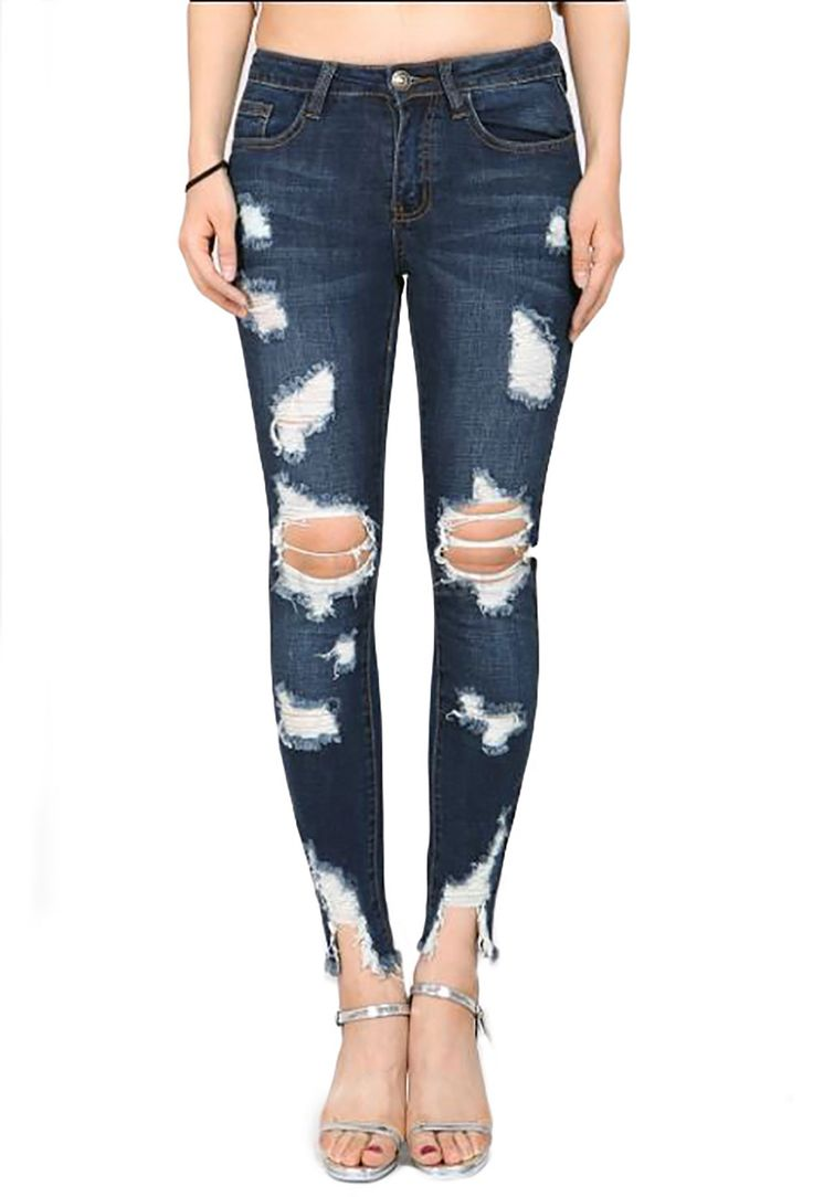 Machine Jean Denim Diagonal Frayed Hem SkinnyJeans