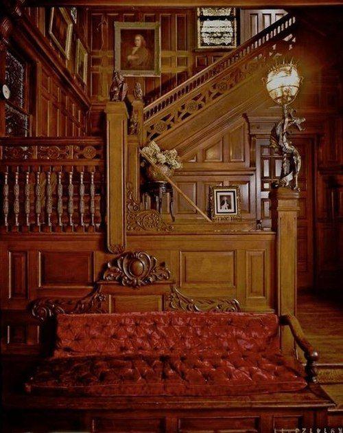 Beautiful Wood Staircase and Paneled Walls