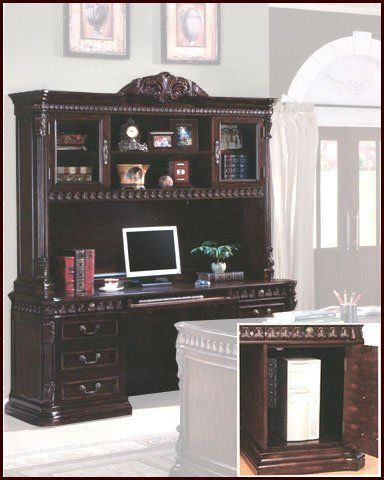 Computer Workstation CO-800801 by Coaster. $2029.00. This large scaled home office collection in a rich brown finish, features detailed carvings found throughout each piece. Desk features felt lined top drawers, keyboard drawer, and storage for your computer. Ball bearing glides, power strip and task lighting on the hutch. Includes: 1 x Computer Desk ? CO-800801B 1 x Computer Hutch ? CO-800801H Dimensions: Computer Desk ? 72?W x 24?D x 31?H Computer Hutch ? 71?W x 17?D x 56?H