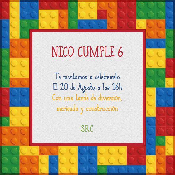 Invitaciones fiesta infantil construcciones lego