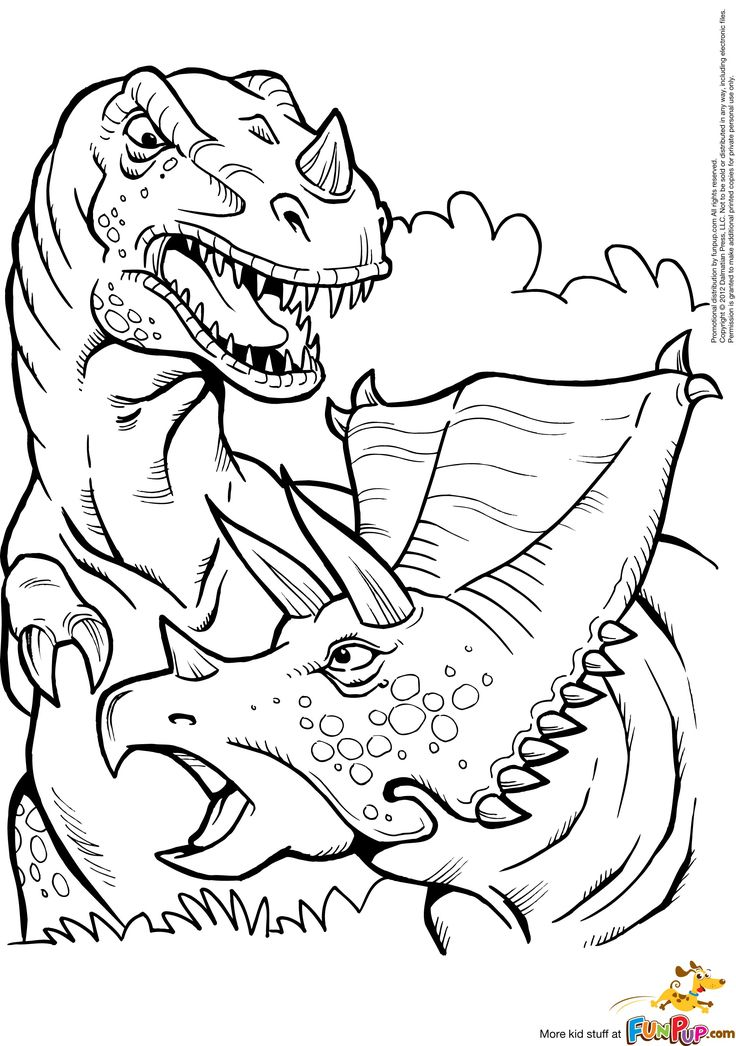 Kleurplaat: printable  t-rex and triceratops coloring page