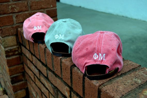 Greek Lettering on BACK of hat embroidery by embellishboutiquellc