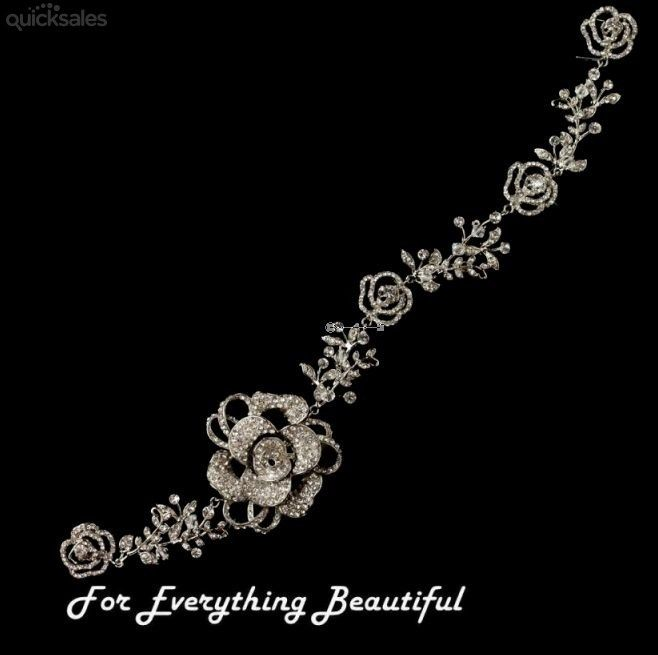 Crystal Beaded Rhinestone Floral Rose Vine Wedding Bridal Headband by JB7339 - $145.00