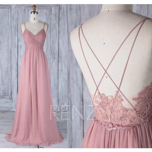 2017 Dusty Rose Bridesmaid Dress, V Neck Wedding Dress,Spaghetti... ($118) ❤ liked on Polyvore featuring dresses, gowns, v neck gown, v neck lace dress, lace prom dresses, floor length prom dresses and prom gowns
