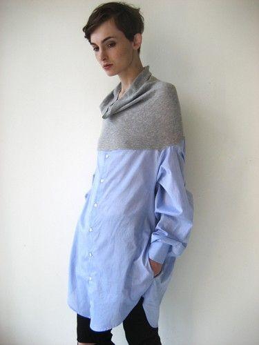cowl top/ men's shirt bottom
