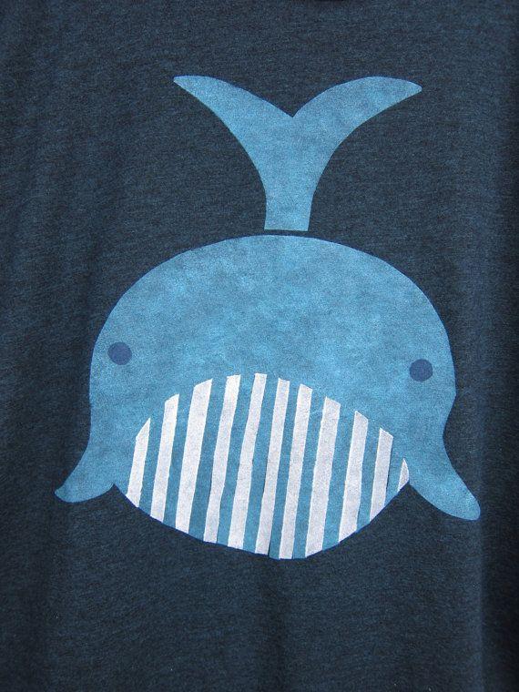 Geo Whale Tee Boyfriend Fit Scoop Neck T-shirt by twostringjane
