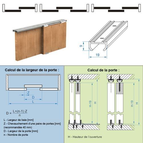systme coulissant apis pour 2 portes de placard rail 18 m 9 - Rail De Porte De Placard