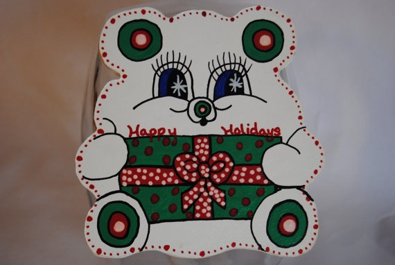 Christmas Bear with Present or Gift Cookie Jar by MTDesignsCrafts, $20.00