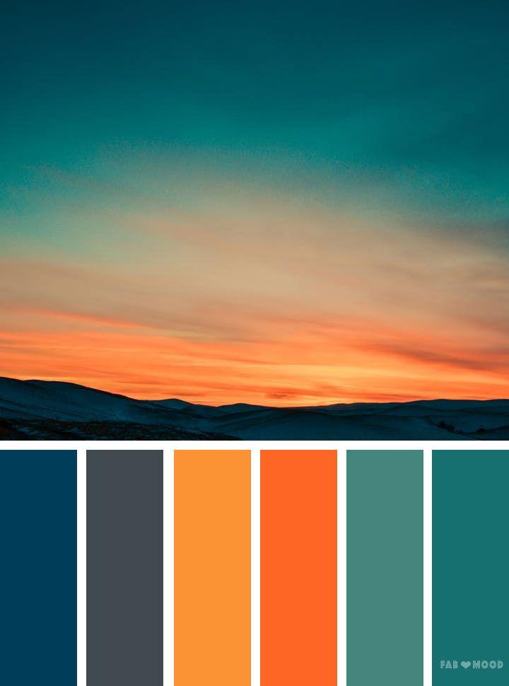 Orange Teal Sky Inspired Color Palette Colorscheme Inspiration