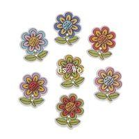 100 ks Dřevo Šicí Tlačítka Scrapbooking 2 otvory Mixed Sunflower Pattern 25x20mm šperky DIY (W05573 X 1)