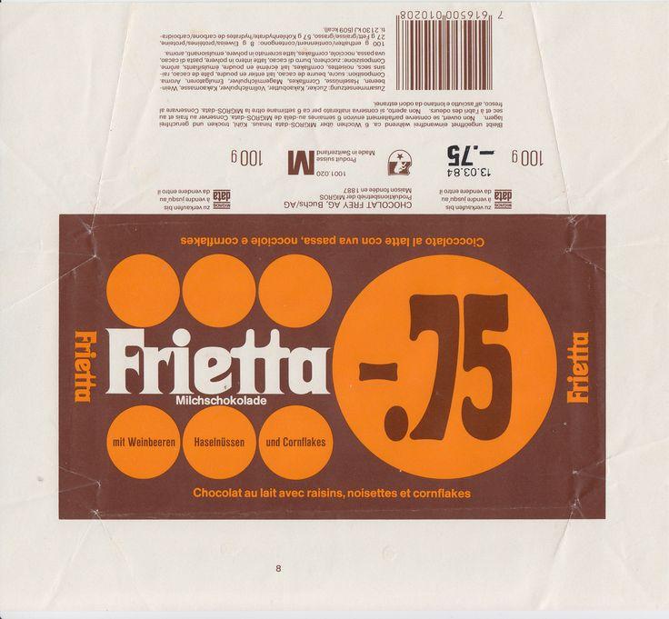 Frietta Milchschokolade mit Weinbeeren, Haselnüssen und Cornflakes 1983