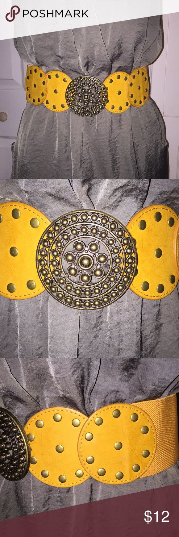 "Mustard medallion wide stretch belt Beautiful medallion mustard yellow belt! Hook closure, stretch to fit, 29""-Like new! Accessories Belts"