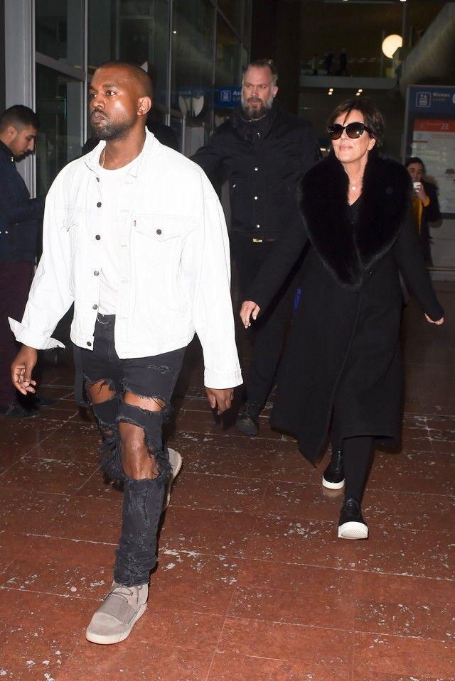 Kanye West wearing Saint Laurent Custom Destroyed Skinny Jeans, Adidas Yeezy \u2026