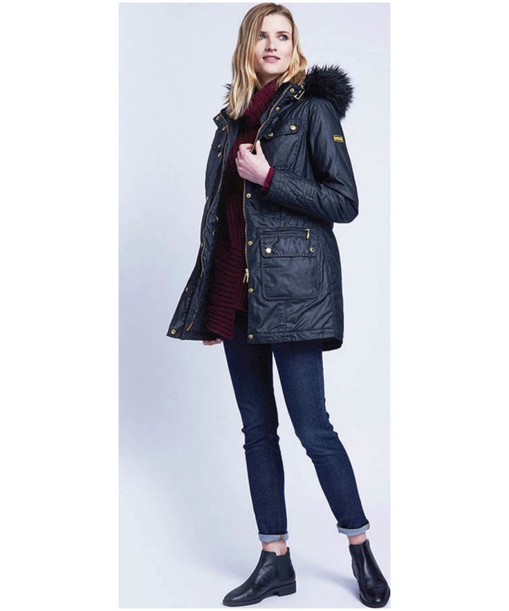 The women's Barbour International Mallory Wax Parka is the ideal winter warmer to cosy up in this season. Featuring a stylish detachable fur trim around the grown hood, this jacket can be easily adapted to suit your style or the occasion. Cut to a slim fit, this Barbour International jacket will hug your figure and present a flattering, fashion forward silhouette. The waist features authentic parka styling, including exceptional top stitching and an adjustable drawcord, meaning you can nip…