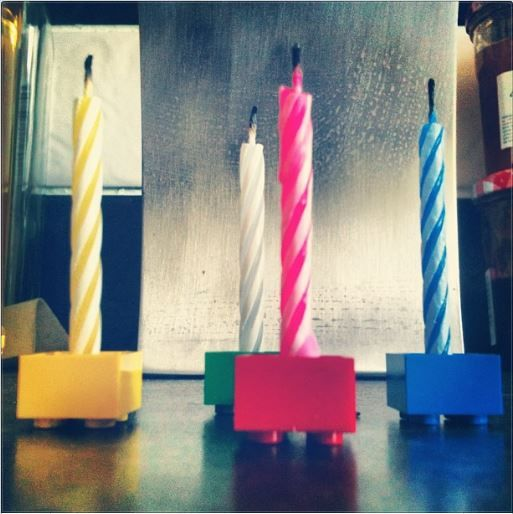 Lego Bricks as Candle Holders. Such a simple yet effective idea.