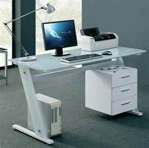 Glass Desk Office Computer Table White Workstation With 3 Drawer Cabinet  Modern