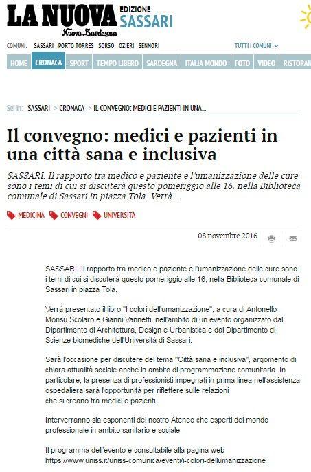 La Nuova Sardegna, 8 novembre 2016 #icoloridellumanizzazione #docentiAaA #AntonelloMonsu #DADU