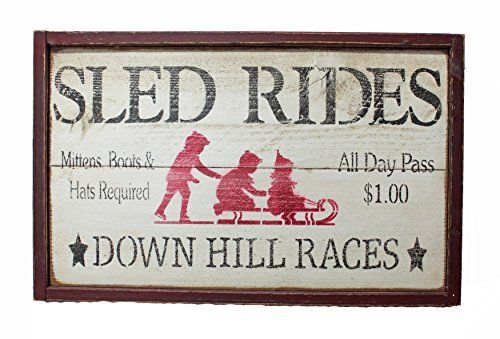 Sled Rides Rustic Christmas Winter Wood Sign - GNR Trades