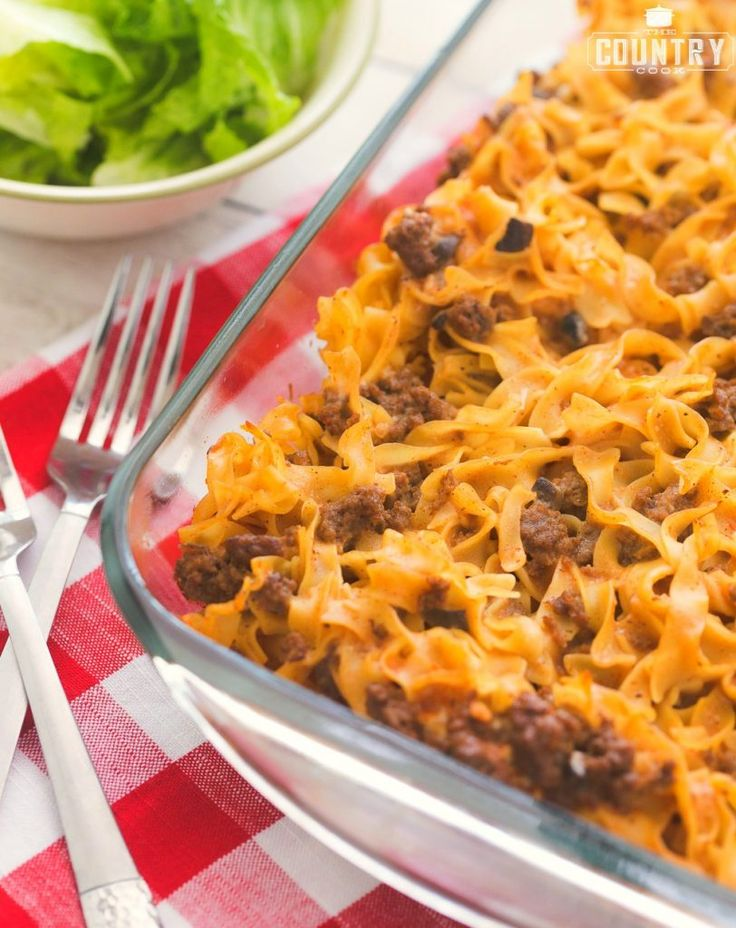 Amish Country Casserole - The Country Cook 1 (12 oz) bag medium egg noodles Preheat oven to 350f degrees. Spray a 9×13 baking dish with nonstick cooking spray. Set aside. Cook egg noodles according to package directions and drain well. In a large skillet, cook and crumble ground beef. Drain grease. 1 lb. ground beef 1 (10.75) can tomato soup 1 (10.5 oz) can cream of mushroom soup 1 cup milk salt & pepper, to taste 2 tsp Worcestershire sauce 1/4 tsp minced garlic 2 tbsp dried onion flakes 1/4…