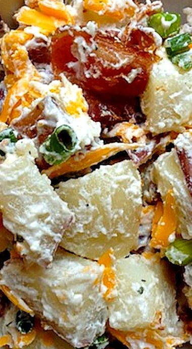 Loaded Red Potato Salad with Ranch, Bacon and Cheddar Cheese
