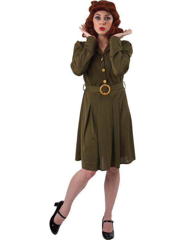 Womens 1940s WW2 Wartime Fancy Dress Costume