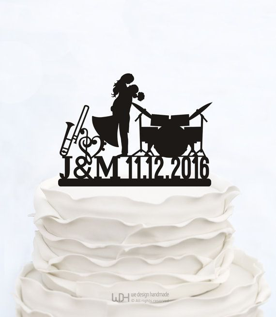 MUSIC note CAKE TOPPER_Initials Cake Topper With Date_Wedding Cake topper_Custom cake topper__Personalized cake topper_Made in italy